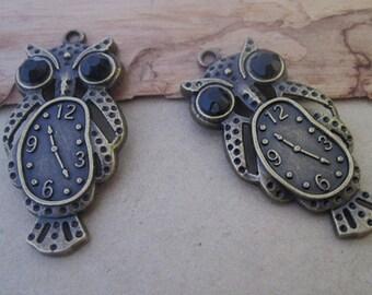 10pcs of Antique bronze  Owl Pendant charm 20mmx40mm