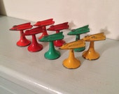 """Lot of 8 Painted Metal Game Pieces From 1950's Wild World Game 1"""""""