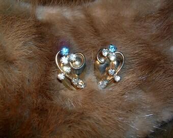 Vintage Blue and Clear     Rhinestone Earrings.