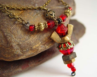 Antique Bronze and Blood Red Iridescent Beaded Wing Nut Angel Necklace with Heart Charm