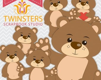 Cute Bears clipart, 6 png digital clipart -TW082 – INSTANT DOWNLOAD