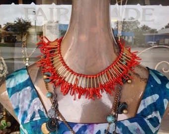 Huge Miriam Haskell branch coral bib necklace Venetian beads and Russian gold