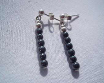 Hematite & sterling silver earrings