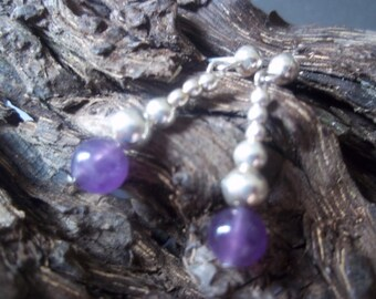 Rich Purple Amethyst and sterling silver earrings