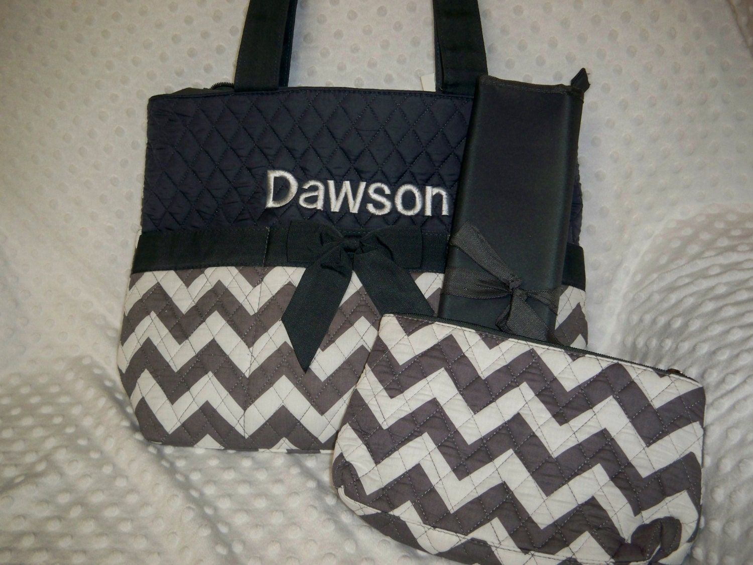 personalized 3 piece chevron diaper bag set with name baby. Black Bedroom Furniture Sets. Home Design Ideas