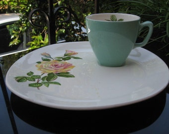Pastels and roses ~ sandwich plate with matching cup