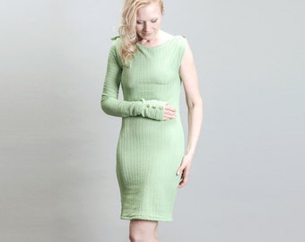 Pastel Green One Sleeve Asymetrical Pencil Cocktail Dress with Military Accents
