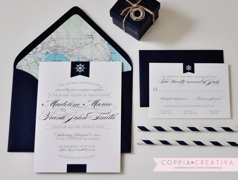 Nautical Wedding Invitation Wording: Nautical Wedding Invitation Navy Wedding Invitation Preppy