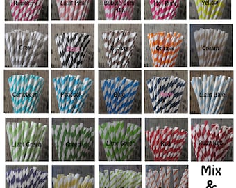 50 YOUR COLOR CHOICE Retro Vintage Striped Polka Dot Star Paper Straws