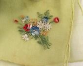 Stunning crepe handkerchief. Beautiful flower bouquet. Hand embroidered. Wedding hankie
