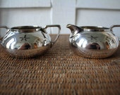 Mid-century modern silver cream and sugar set, Rogers