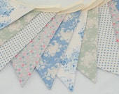 Shabby Chic Party Bunting - TILDA in Blue & Greygreen - The perfect decoration for Weddings, Parties and Baby Showers