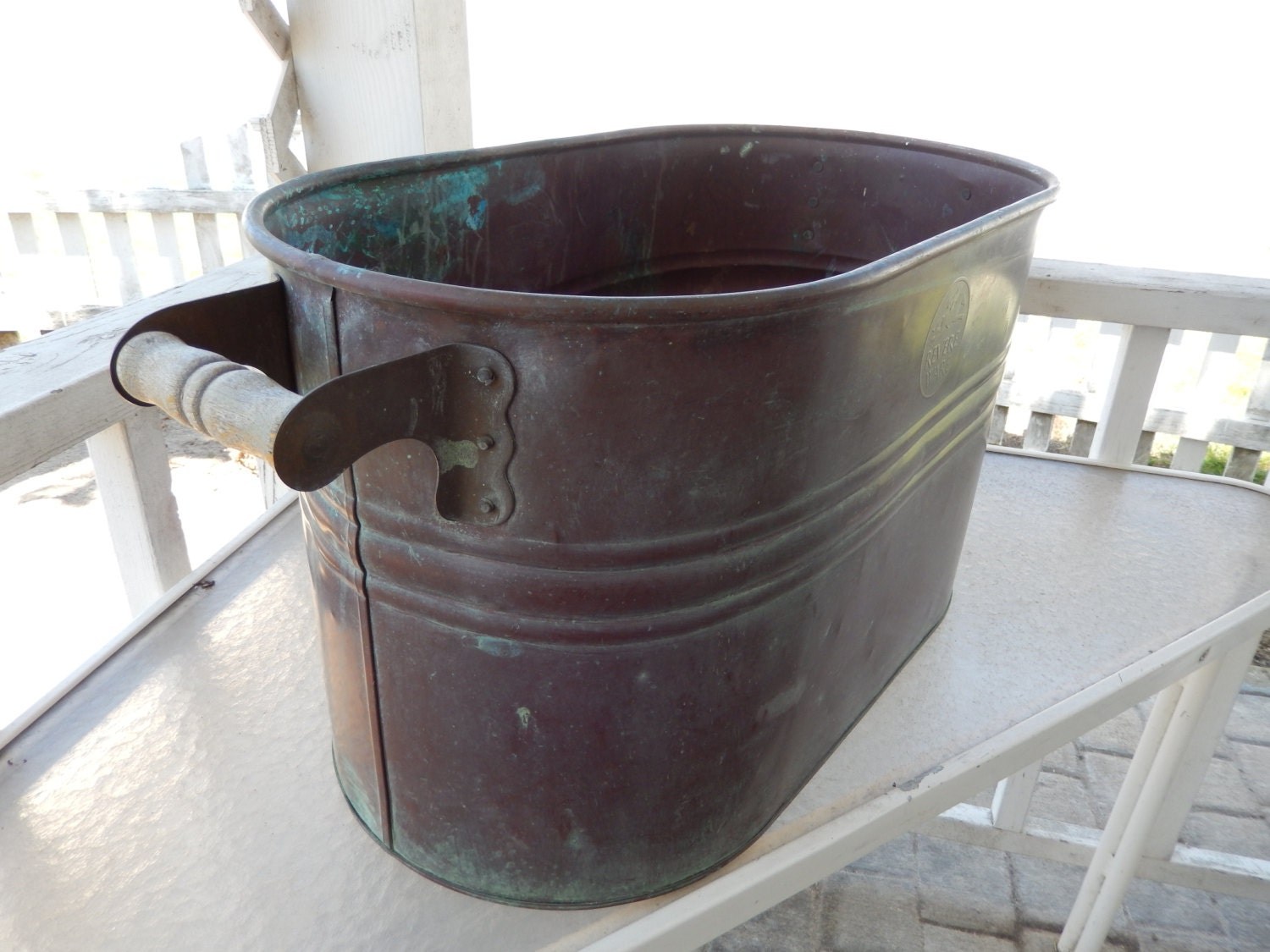 Double Wash Tub : Vintage Copper Wash Tub/Double Boiler with Handles by Revere