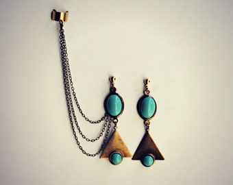 turquoise ear cuff triangle earrings, chains ear cuff, geometric ear cuff, ear cuff with chains