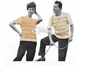 1950s Boyfriend and Girlfriend T shirt Sweater - 2 Knit patterns PDF 4273