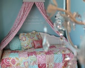 Kumari Bedroom Twin size rag quilt, two pillow shams, and bed crown canopy drapes