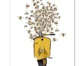 Art Print, Illustration, VESPA scooter print - As sweet as Honey - Wall decor,Fine Art Prints, Art Poster. Save the Bees print