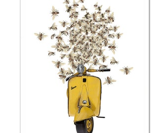 Art Print, Illustration, VESPA scooter print - As sweet as Honey - Wall decor,Fine Art Prints, Art Poster. Save the Bees print