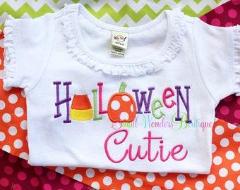 Halloween Cutie Embroidered Shirt - Halloween Shirt - Candy Corn Shirt - Pumpkin - Halloween Shirt - Girls Applique- Holiday Shirt