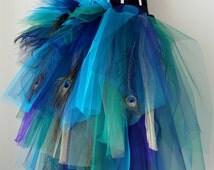 French Navy Blue Purple Peacock  Feathers Burlesque Tutu Bustle Belt size 4 -10 U.S. 6 -12 U.K.