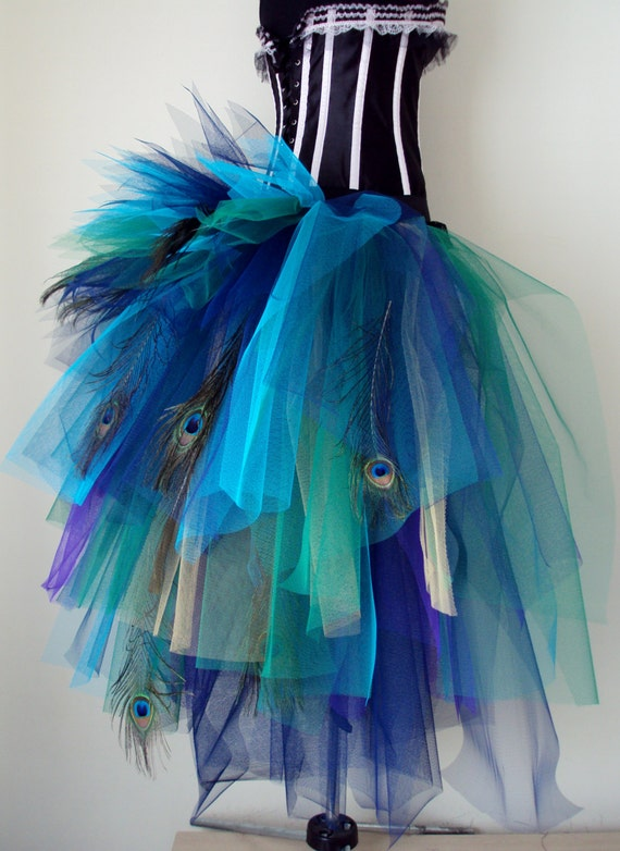 French Navy Blue Purple Peacock Feathers Burlesque Tutu