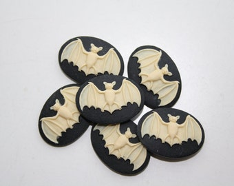 Bat Unset Cameo Cabochon 25x18mm - 6 PIECES - Vampire Gothic Victorian