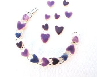 Purple Heart bracelet, Valentine's Gift, lilac, violet, mauve ceramic hearts