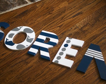 Custom Hand Painted Letters, Coordinates with New School (Make a Splash) Bedding