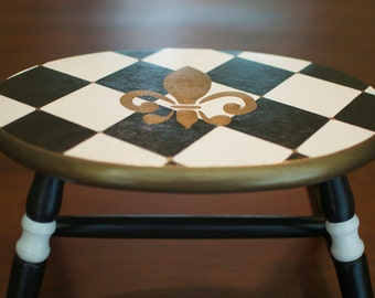 Hand Painted Step Stool--Black, White and Gold Fleur de Lis / Harlequin Pattern
