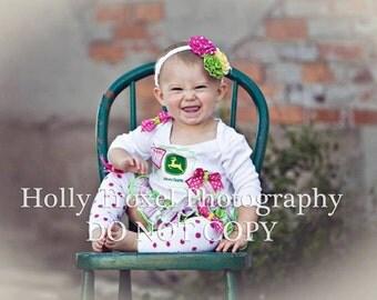 JOHN DEERE Inspired Girls Ruffle Bloomer Skirt Set Baby Newborn Toddler Ruffle Diaper Cover Bloomers 6729