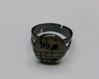 Musical Notes Ring, Antique Sheet Music, Gunmetal Color