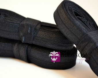 5 Yards BLACK 5/8 Inch Fold Over Elastic - Shiny FOE - Baby Headband Elastic - DIY Hair Ties - Cloth Diaper Supplies - Wholesale Supplier