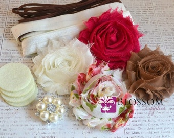 DIY Headband Making Kit - Spring Floral Collection - Chiffon Frayed Flowers - Shabby Rose Trim - Flower Headbands - Pink Ivory Brown