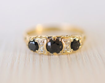 1980's vintage / Sapphire and diamond 9K gold ring / wedding engagement