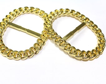 2 PCS Gold Round Shiny Buckles Accessories for Crafts, Embellishments