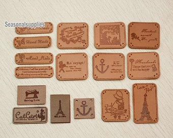 4 pieces Leather label Handmade Letters -symbol Charms in Antique-style for your crafts purse bag making (T77)