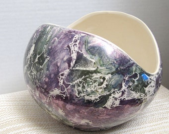 McCoy Cascade Collection Iridescent Marbled Glaze Vase Purple Green White In Color Made In The U.S.A. c1961