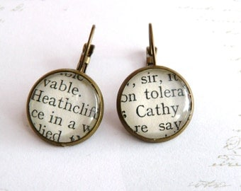 Wuthering Heights Book Earrings, Silver or Bronze Plated,  Cathy & Heathcliff Earrings, Gifts For Bookworms, Literary Jewellery