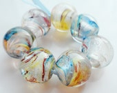 Blue tiger - handmade lampwork bead set