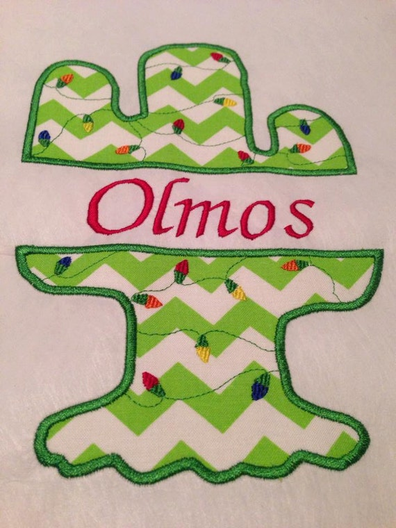 Split cactus digital embroidery file christmas design