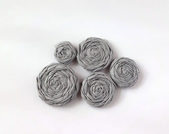 Gray Fabric Rosettes Embellishment