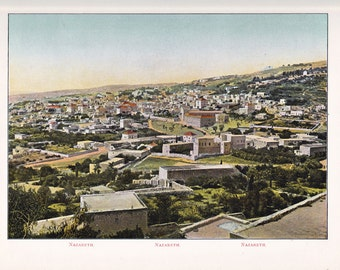Antique Print of Jerusalem, a color lithograph from 1908