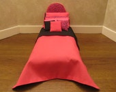 Doll Bed for 11 1/2 inch dolls Dark Pink Leopard Reversible Black Bedspread White Tufted Mattress Pillow