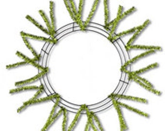 Metallic Lime 15-24 Inches Work Wreath with Pencil Tinsel Ties - Lime Green Work Wreath Frame - XX751137