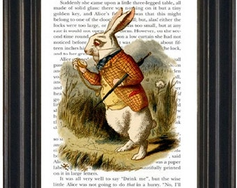 Alice in Wonderland Book Print White Rabbit