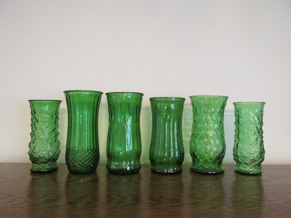 Set of 6 Large Vintage Emerald Green Glass Vases- Large