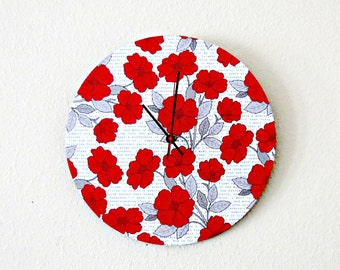 Unique Wall Clock - Home and Living - Home Decor - Red Flowersr - Wall Clocks - Unique Birthday Gift
