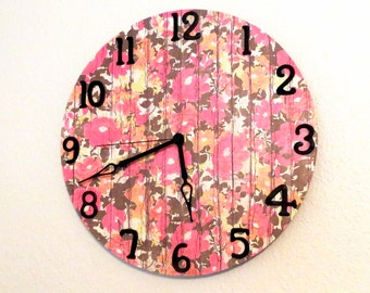 Shabby Chic Wall Clock, Decor and Housewares, Home and Living, Home Decor, Unique Gift, Pink Clock, Clock with Numbers