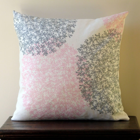 Grey And Pink Decorative Pillows : Decorative Throw Pillow 20 x 20 Pink Grey White Flowered