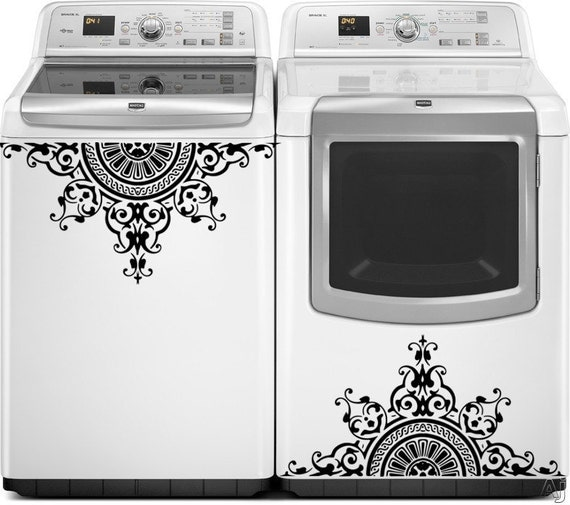 Washer Dryer Vinyl Decals Appliance Decals Greek Medallion